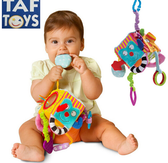 Candice Guo! Newest Colorful TAF Baby Cloth Block Rattle Multi-touch Monster Kooky Square Baby Appease Toy Birthday Gift 1pc