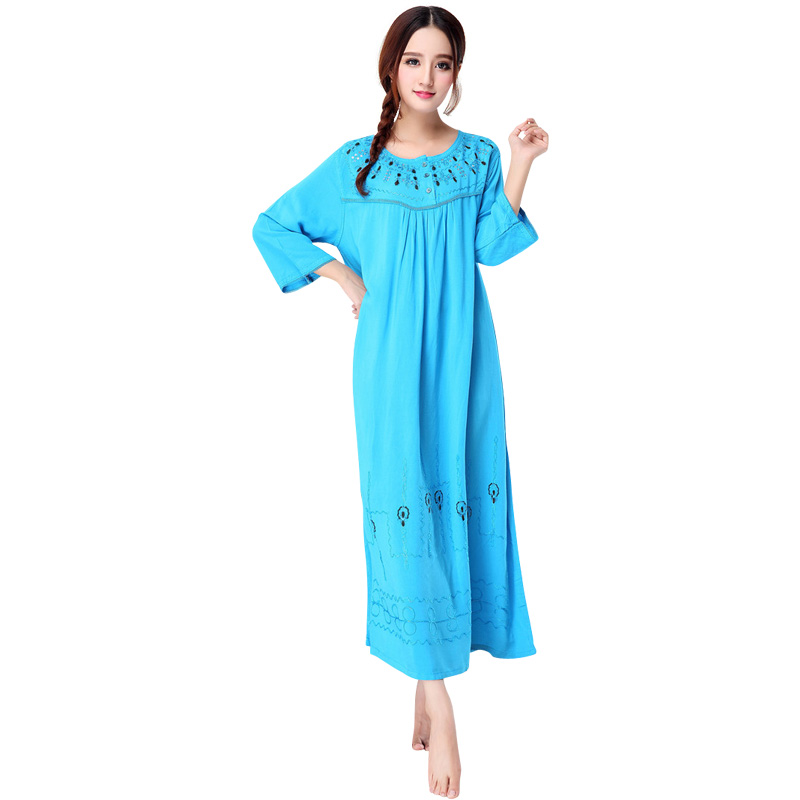 Blue Female Casual   Nightgown   Bathrobe Gown Cotton Sleepwear Embroidery Night Dress   Sleepshirt   Long Sleeve Loose Nightwear