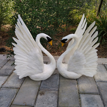 real life toy about 30x45cm couples lovers swans model foam&feathers white swan with wings,home decoration props ,toy gift d0590