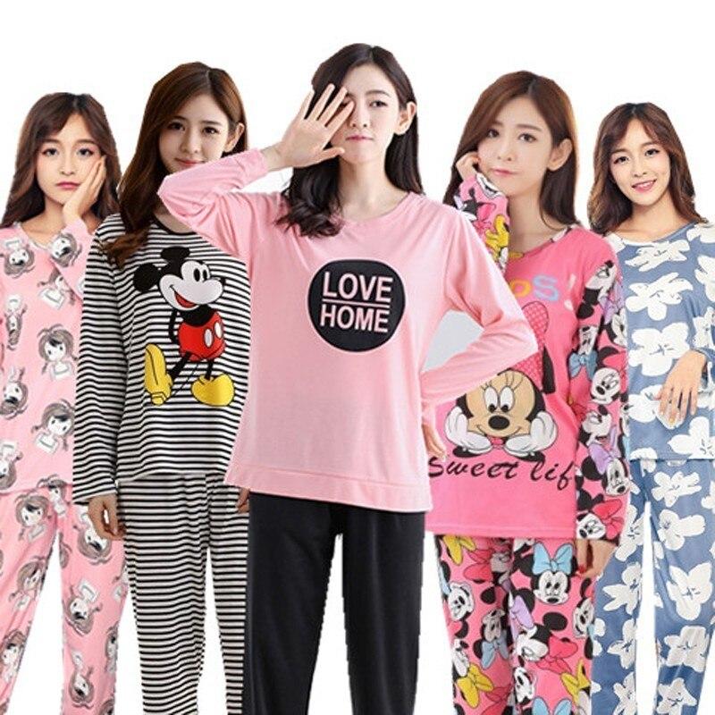 Venta al por mayor conjuntos de pijamas de primavera y otoño 22 estilo fino de cartón generación durante mucho tiempo, las mujeres ropa de dormir traje de Casa de las mujeres de regalo mujer ropa de dormir