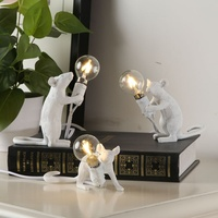 Nordic Design Mouse Lamp Table Lights Bed Side Decor Luminaria Table Lamp Body Resin Mouse Table Lamp Modern Lampara De Mesa