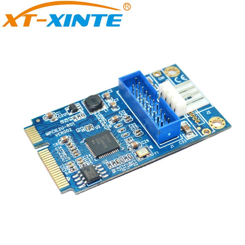 XT-XINTE MINI PCI-E to USB3.0 2-Port PCI Express Riser Card to 4Pin Convertor PCIe Adapter PCIE to19pin USB 3.0 Expansion Card pci e to