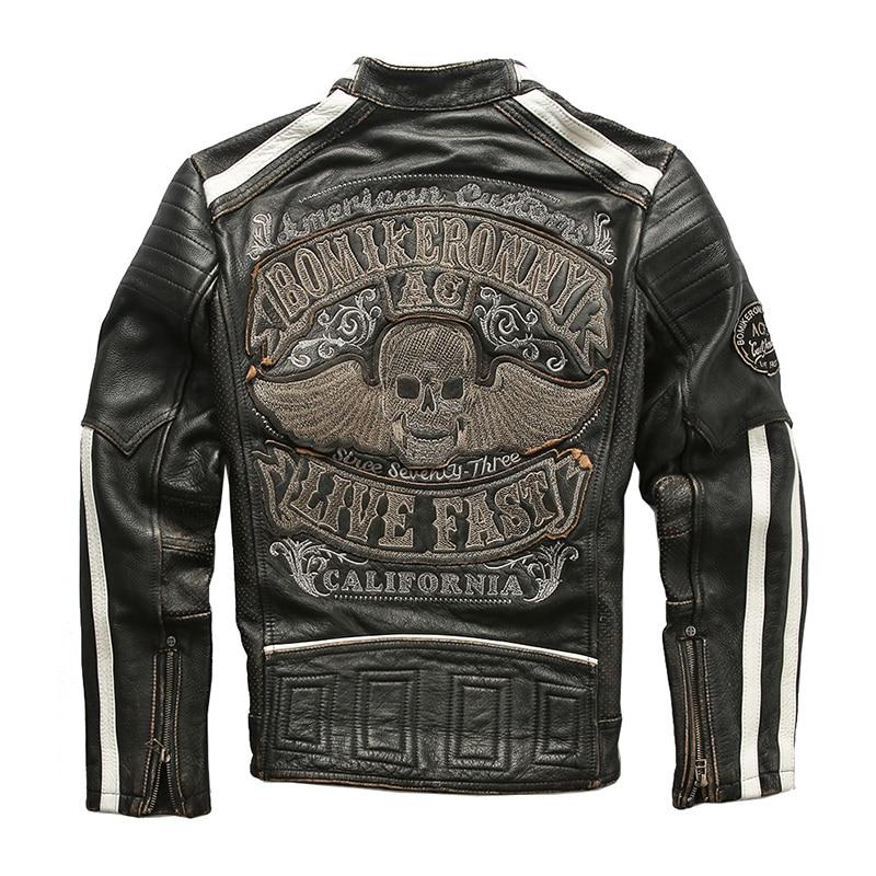 Jacket Skulls Biker-Coat Motorcycle Vintage Genuine-Cowhide-Spring XXXL Black Slim Plus-Size