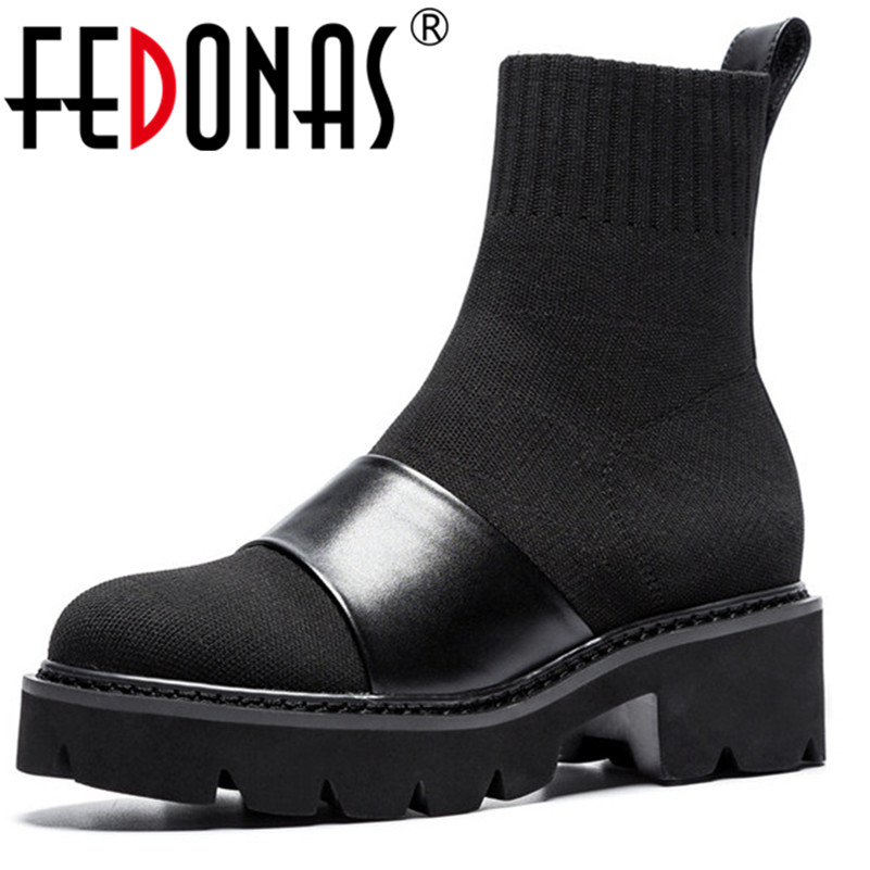 FEDONAS Women Shoes Autumn Winter Ankle Boots Round Toe Square High Heel Ladies Motorcycle Boots Fashion