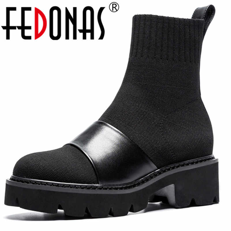 306c153a1787 FEDONAS Women Shoes Autumn Winter Ankle Boots Round Toe Square High Heel  Ladies Motorcycle Boots Fashion