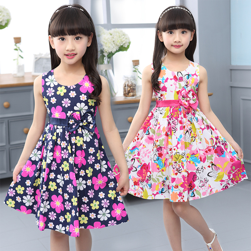 035df6088f28 Kids Dresses for Girls Summer Bowknot Sleeveless Casual Floral Print 95%  Cotton Birthday Party Princess Sundress Dress 4-14T