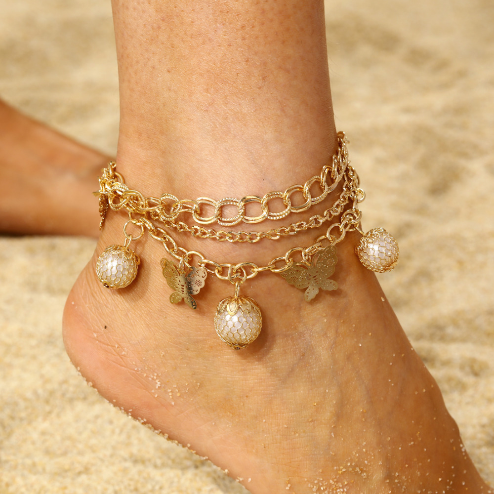 8824c582e6e Crystal Sequins Anklet Set For Women Beach Foot jewelry Vintage Statement