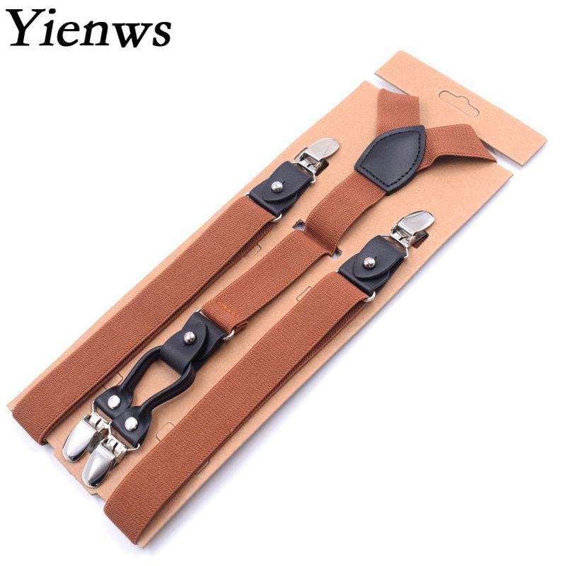 Yienws Brown Suspenders For Men 4 Clip Y-back Pant Suspenders Men Button 2.5*115cm Mens Braces For Trousers Navy Black YiA126