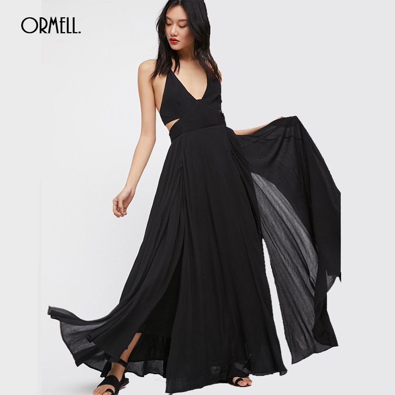 ORMELL <font><b>Sexy</b></font> Spaghetti Strap Cotton Maxi <font><b>Dress</b></font> Women Summer Backless Female Sleeveless Halter Solid Boho Long <font><b>Dresses</b></font> <font><b>Hot</b></font> Sale image