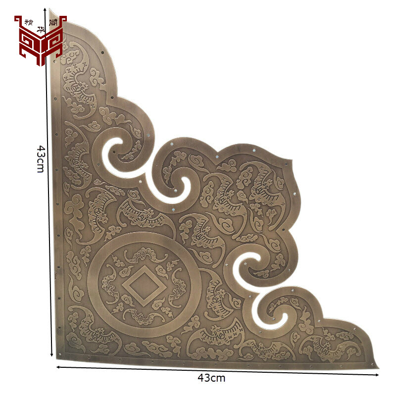 Chinois antique porte feuille cuivre bois garniture wrap angle rouge porte coin de l'ancienne cour porte décoration