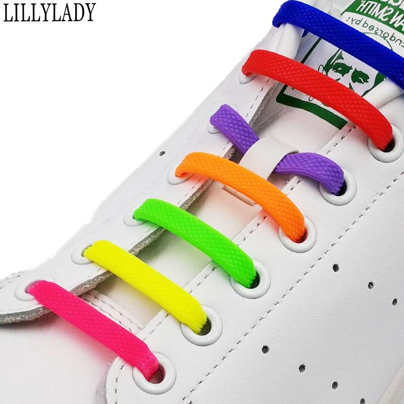 No Tie Shoelaces 16pcs/lot Silicone Elastic Shoe Laces Accessories Elastic Lace Shoelace Creative Lazy Silicone Laces Rubber
