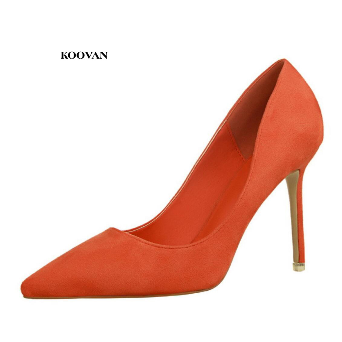 Koovan Women's Pumps 2019 New Fashion Simple High-heel Shallow Pointed Suede Sexy Thin Professional OL Women's Shoes