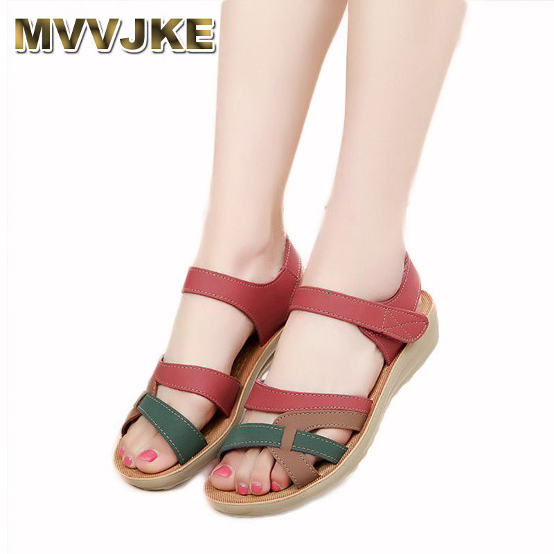 MVVJKE Mother sandals soft leather large size flat sandals summer casual comfortable non - slip in the elderly women 's shoes