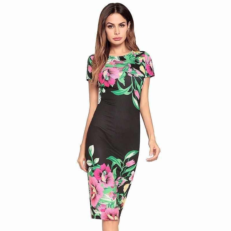 054b1c5226466 Ruiyige 2018 Summer Vintage Floral Print Dress Women Boho Casual Elegant  Party Midi Dresses Sexy Beach O neck Sheath Vestidos