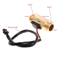 цена на Water Flow Sensor Switch G1/2 Copper Hall Effect Liquid Water Flow Sensor Switch Flowmeter Meter 1-30L/min