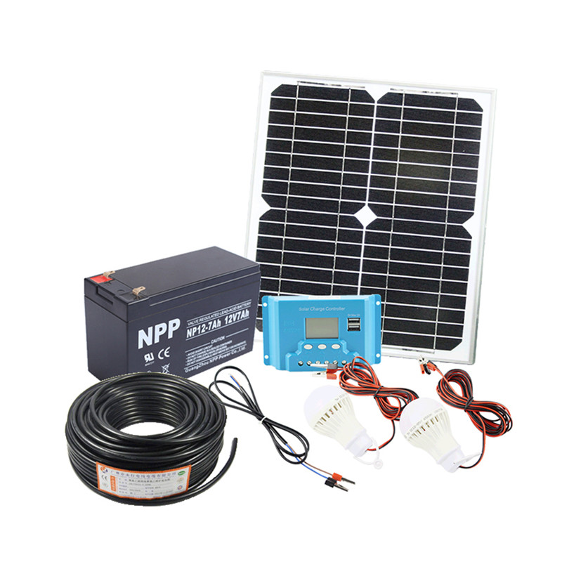 20W home Solar System 18V solar panel with solar controller cable DIY kit image