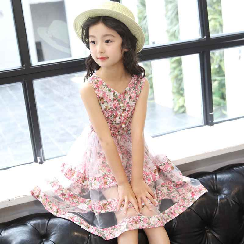 f8b1ed1476658 Girls Dress 2018 New Fashion Two layers Mesh Summer Kids Dresses for Girls  3 4 5 6 7 8 9 10 11 12 Year Children Flower Clothing
