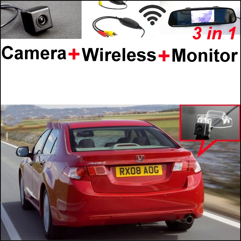 3 in1 Special Camera + Wireless Receiver + Mirror Monitor  Easy DIY Parking System For HONDA For Accord Europe Spirior 2013~2015 wireless pager system 433 92mhz wireless restaurant table buzzer with monitor and watch receiver 3 display 42 call button