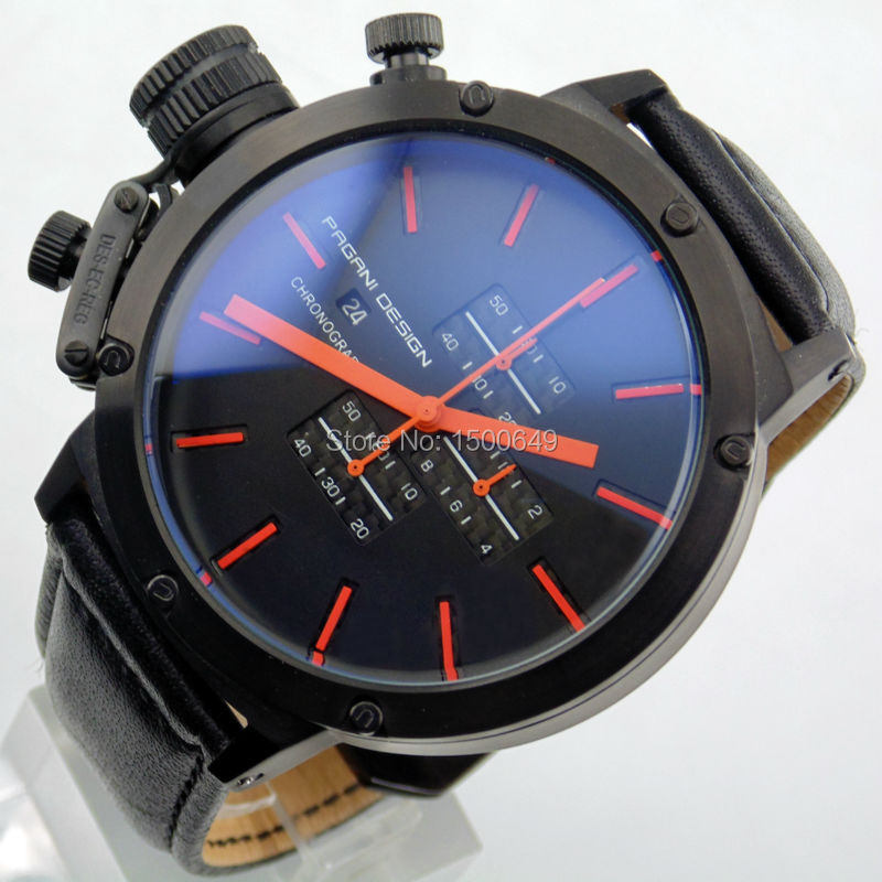popular 50mm watches men buy cheap 50mm watches men lots from 50mm pagani design black dial lefty pvd case chronograph mens quartz wrist watch