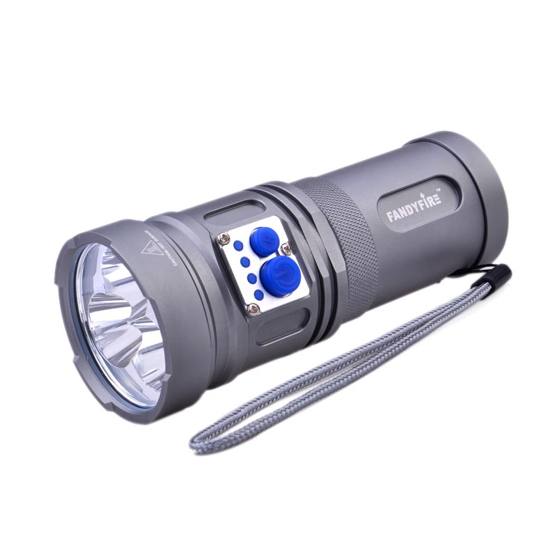 FandyFire YL-U2 2000lm 5-Mode Cool White light powerful LED Flashlight with three XM-L U2 LED bulb, Strap - Grey (3 x 18650) ultrafire c10 800lm 5 mode white crown head flashlight grey 1 x 18650 26650