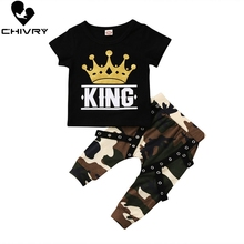 Chivry 2Pcs Baby Boy Clothing Sets Kids Short Sleeve King Print T Shirt Tops with Camouflage Pants Toddler Infant Baby Boys Set цена в Москве и Питере