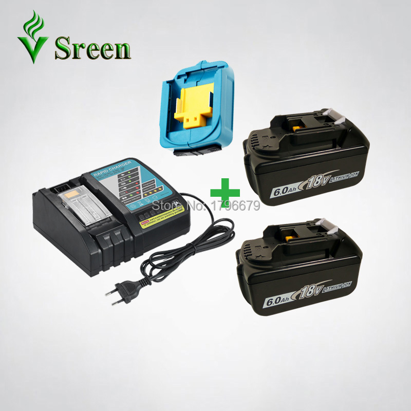 2PCS 6000mAh Li-ion Rechargeable Battery Replacement for Makita 18V BL1840 BL1830 DC18RC Power Tools Rapid Charger USB Adapter 2pcs set 18v 3000mah li ion replacement battery lithium ion power tools batteries rechargeable battery for makita bl1830