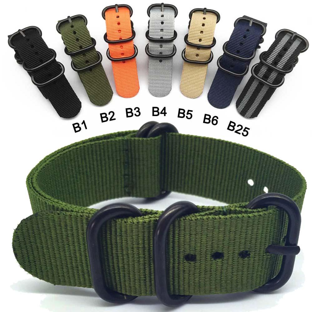 NATO Nylon Strap 20 22 24 mm Solide armband Military nato stoff Nylon Uhr straps Woven Zulu Riemen Bands Schwarz schnalle gürtel