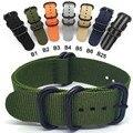 НАТО нейлон ремешок 20 22 24 мм Прочный браслет в стиле милитари НАТО ткань нейлоновые ремешки для часов плетеные ремешки Zulu полос с черной пря...