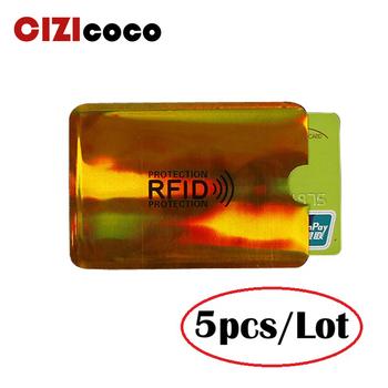 5PC Anti futerał na karty Rfid blokowanie czytnika blokada karty etui na identyfikator aluminiowy uchwyt na karty identyfikacyjne ochrona metalowe etui na karty kredytowe tanie i dobre opinie cizicoco Unisex Stałe H044 Id posiadacze kart Nie zamek Moda Poduszki Karta kredytowa metallic Phone card sets Any Occasion