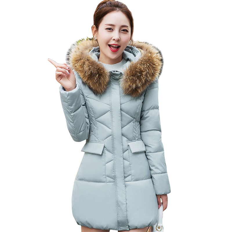 2017 New Fur Collar Parkas Women Winter Coats Medium-long Thick Solid Hooded Down Cotton Female Padded Jacket Warm Slim Outwear 2017 winter women coat warm down cotton padded jacket thick hooded outwear plus size parkas female loose medium long coats