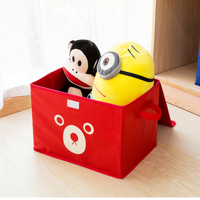 Square Collapsible Canvas Storage Box Foldable Kids Toys: Cartoon Kids Storage Box For Toys Organizer Folding