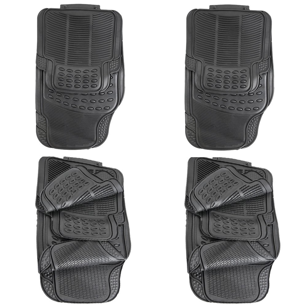 Rubber floor mats cheap - Auto Vehicle Floor Mat Universal Car Fit Front Rear 4 Piece Full Set Ridged Anti