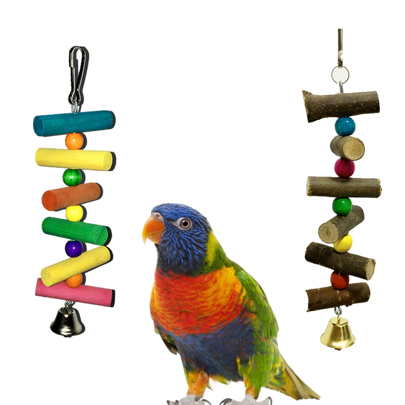 Parrot font b Pet b font Bird Wood Ladder Climb Cableway Hamster Toys Rope Parrot Bites