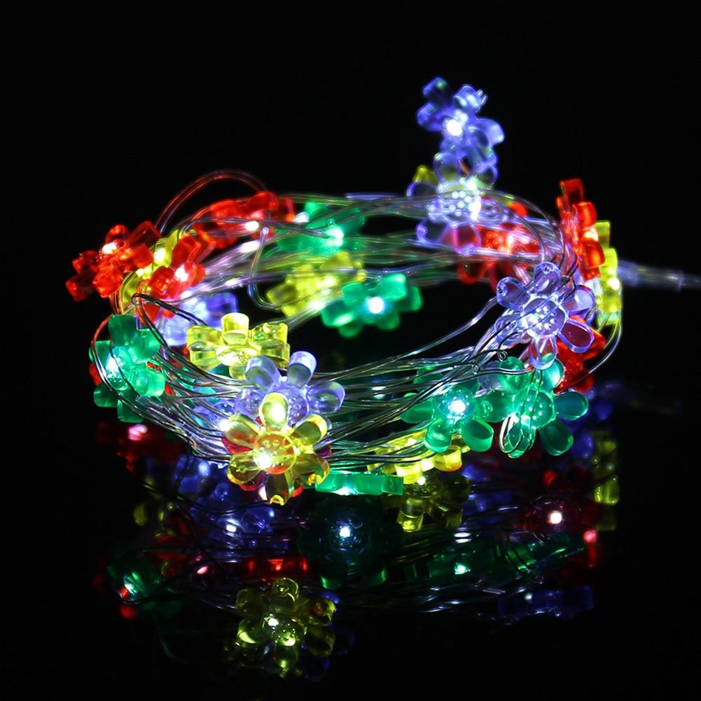 2M 20LED Sun Flower Shape Lighting Strings Christmas Led String Fairy Light Button Battery Power LED String Light Party