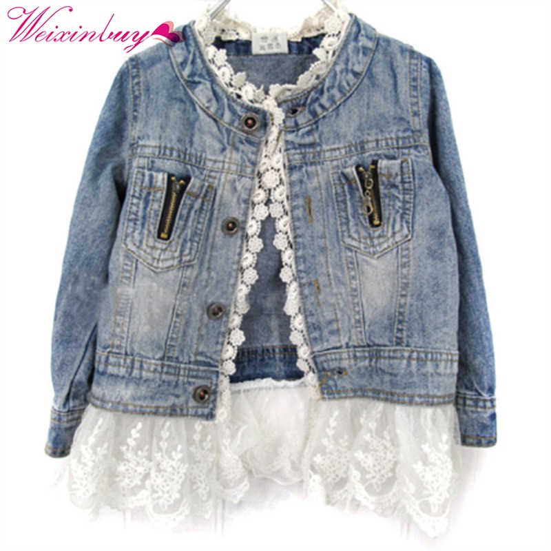 New Girls Kids Lace Cowboy Jacket Denim Top Button Costume Outfits Jean Coat 2-7TXL129