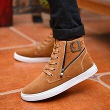 Hot 2017 Men Flock Leather Casual Shoes Korean Fashion Winter Autumn Men Ankle Boots Men High Top Shoes Man Buckle Zipper Boots