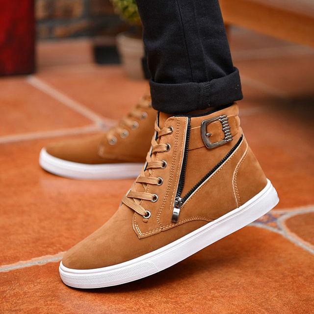 ad372abb86b7a3 Hot 2019 Men Flock Leather Casual Shoes Korean Fashion Winter Autumn Men  Ankle Boots Men High Top Shoes Man Buckle Zipper Boots