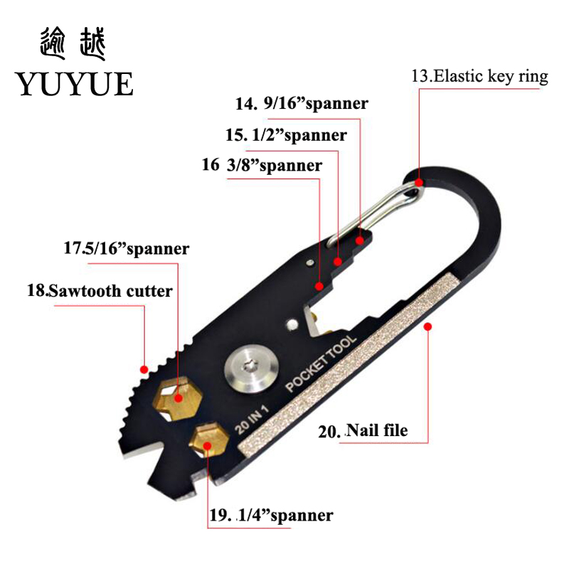 2018 Hot EDC Pocket Multi Tools For Outdoor Camping Equipment Tourism Survival Knife Tool Outdoor Survival Screwdriver Cutter  1