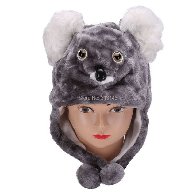 Online Shop Cute Cartoon Plush Animal Koala Beanie Hood Hat Winter Adult  Womens Mens Children Kids Boys Girls Costume Warm Fluffy Cosplay  b7215cc4f79