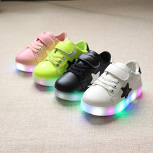 2017 new hot all seasons unisex fashion pentacle Colorful LED LED flash children kids casual shoes kids sneakers lights shoes fo