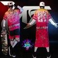 2015 моды для Мужчин костюмы хип-хоп джаз показать одежда показать розовый печати Смокинг певцы DJ верхняя одежда рубашка короткий набор одежды