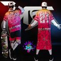 2015 Homens da moda trajes hiphop jazz show desgaste show de impressão rosa Smoking masculino cantores DJ camisa outerwear curto conjunto de roupas
