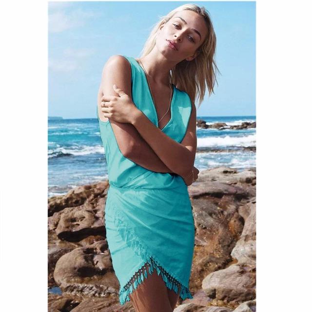 Saenshing Sexy Beach Dress Women Deep V-neck Tassel  Pareo Vestidos Boho 2017 Summer Dresses Woman Female Tunic Casial Sundress