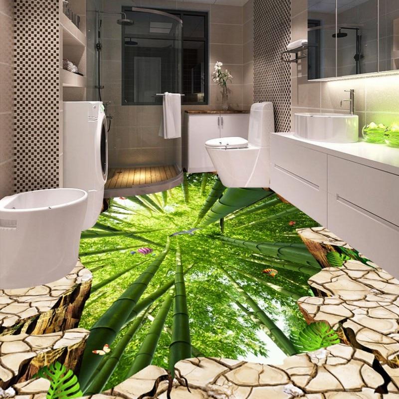 Free Shipping Cliff Bamboo Flying Bird 3D bathroom walkway flooring self-adhesive home decoration flooring wallpaper mural