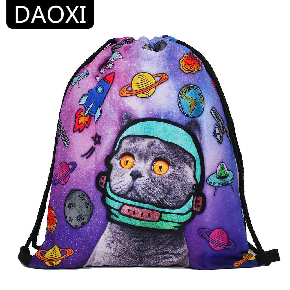 DAOXI Drawstring Bags 3D Printed Space Cat Kawaii Animal Pattern Women Backpacks DXSKD-43