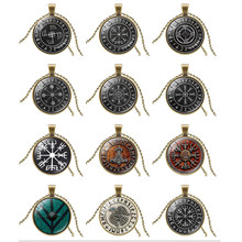 Trendy Scandinavian Norse Viking Cross amulet Pendant Necklace Glass Cabochon Black Declaration Chain Necklace Men Women Jewelry(China)