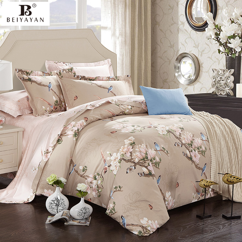 Hot classic flower birds butterfly scenic bedding set 100 for Housse de couette king size
