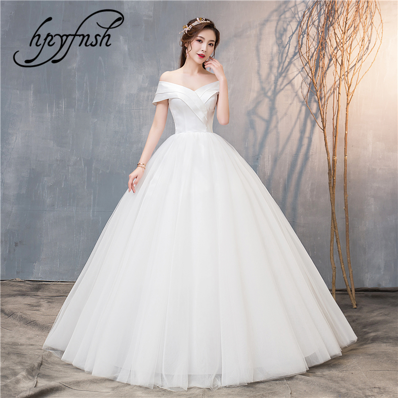 Fashion Simple Classic New Arrival Wedding Dress Lustrous Satin Sweet Sexy V-Neck Off Shoulder Ball Gowns Brides Real Photo 70