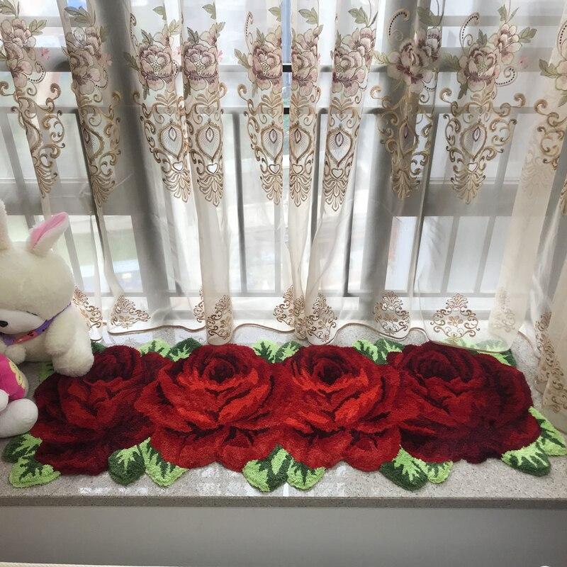 Fait à la main Boutique Rose/rouge Rose broderie longue bande tapis salle de mariage décor tapis/tapis cuisine salle de bains antidérapant paillasson
