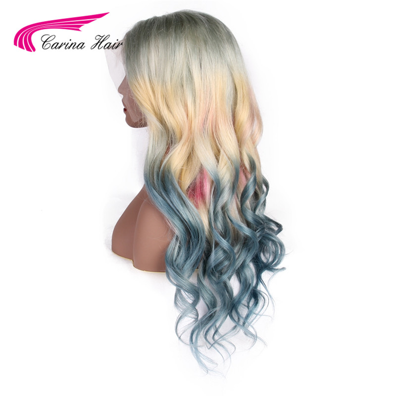 Carina Ombre 613 Front Lace Wig Brazilian Mixed Blue Pink Yellow Blond Ombre Color Long Wavy Lace Frontal Wigs